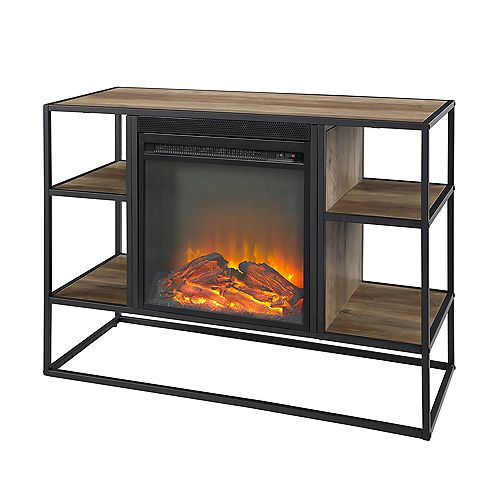 Rustic Industrial Fireplace TV Stand for TV's up to 44 inch- Reclaimed Barnwood