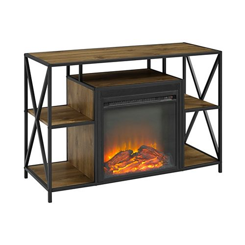 Rustic Industrial Fireplace TV Stand with Open Shelves for TV's up to 44 inch - Barnwood