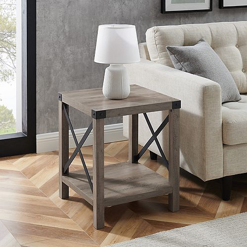Rustic Industrial Fireplace TV Stand for TV's up to 44 inch- Grey Wash