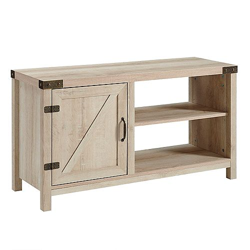 Modern Farmhouse Barn Door TV Stand for TV's up to 48 inch - White Oak