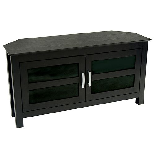 2 Door Cabinet Corner TV Stand for TV's up to 48 inch - Black