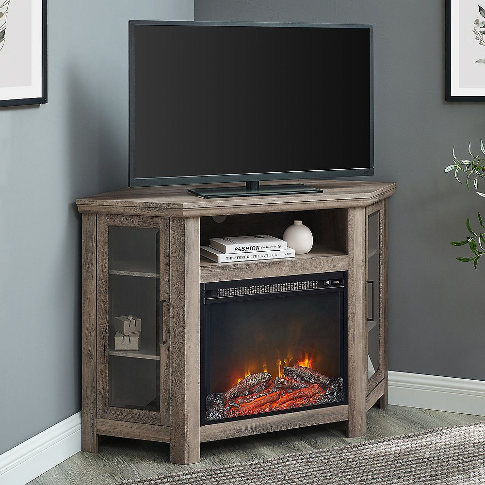 Welwick Designs Tall Corner Fireplace TV Stand for TV's up to 52 inch - Grey Wash