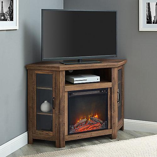 Console de coin pour téléviseur et médias en bois avec cheminée de 121,9cm (48po) - Chêne Rustique