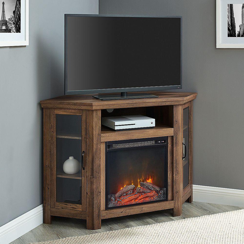 Welwick Designs 48 Inch Rustic Oak Classic Traditional Wood Corner Fireplace Media Tv Stan The Home Depot Canada