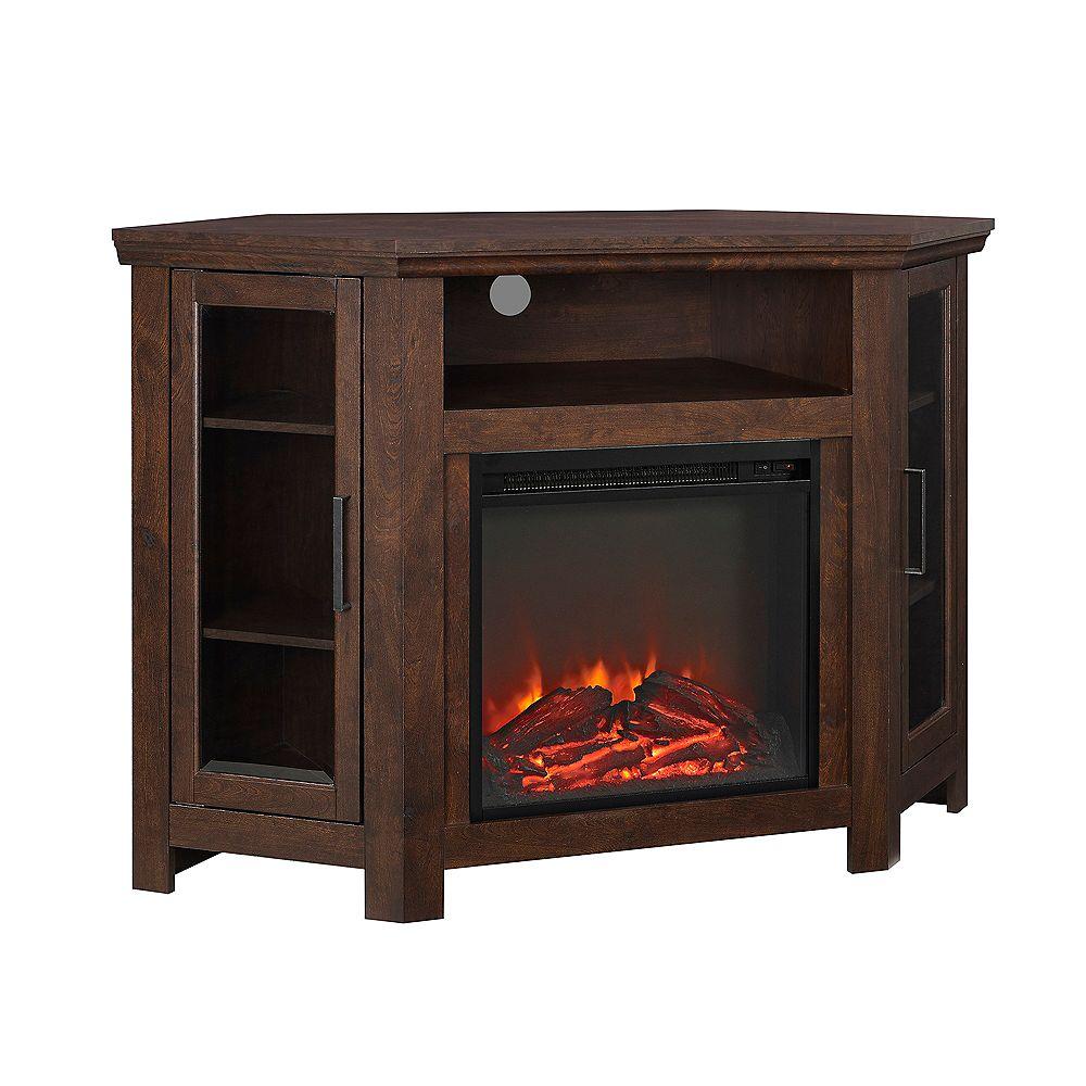 Welwick Designs Console de coin pour téléviseur et médias en bois avec cheminée de 121,9 cm (48 po) - Brun
