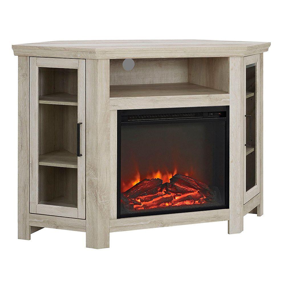 Welwick Designs Console de coin pour téléviseur et médias en bois avec cheminée de 121,9cm (48po) - Chêne Blanc