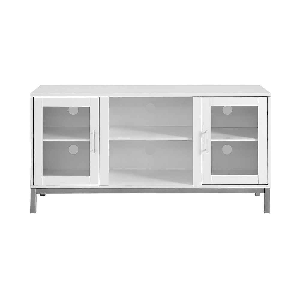 Welwick Designs Modern TV Stand with Storage for TV's up to 56 inch - White
