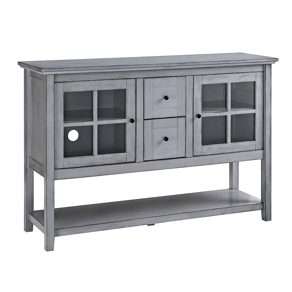 Welwick Designs Meuble pour téléviseur Buffet Console en bois de 132cm (52 po)- Gris ancien