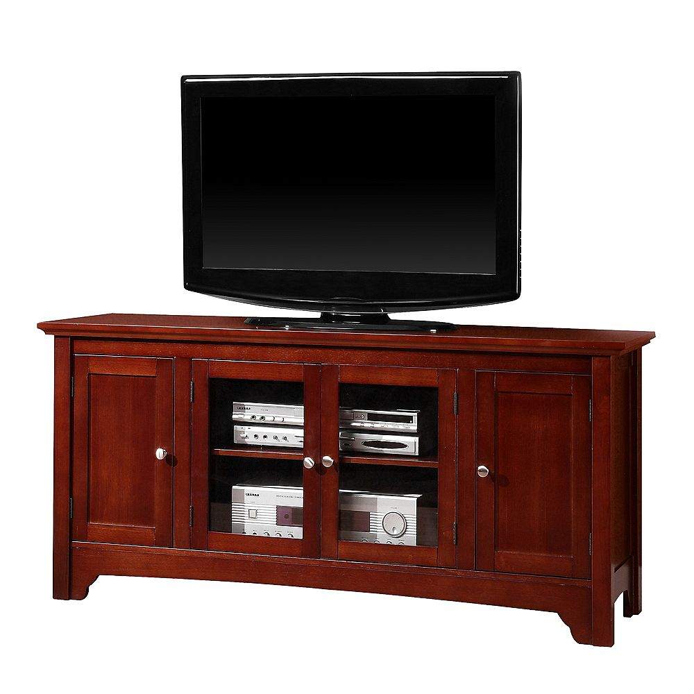 Welwick Designs Transitional TV Stand with Storage Cabinets for TV's up to 56 inch - Brown