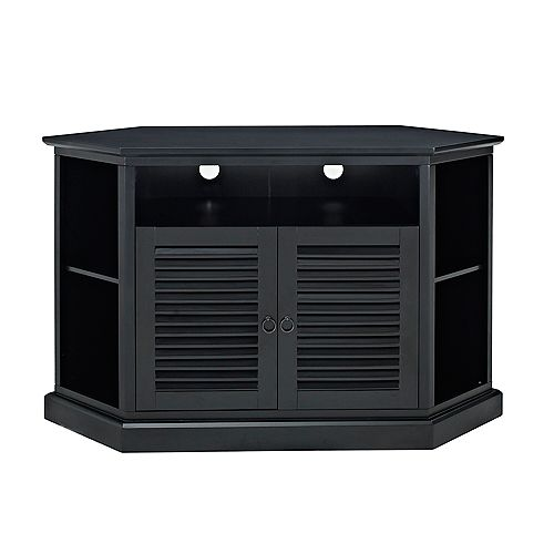 Transitional Corner TV Stand with Storage Cabinets for TV's up to 56 inch - Black