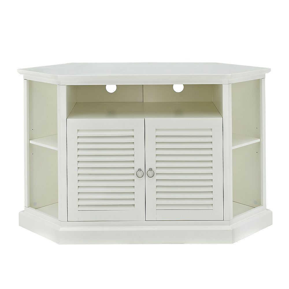 Welwick Designs Transitional Corner TV Stand with Storage Cabinets for TV's up to 56 inch - White