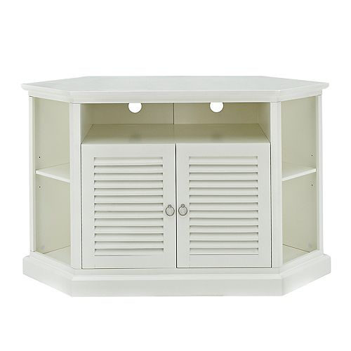 Transitional Corner TV Stand with Storage Cabinets for TV's up to 56 inch - White