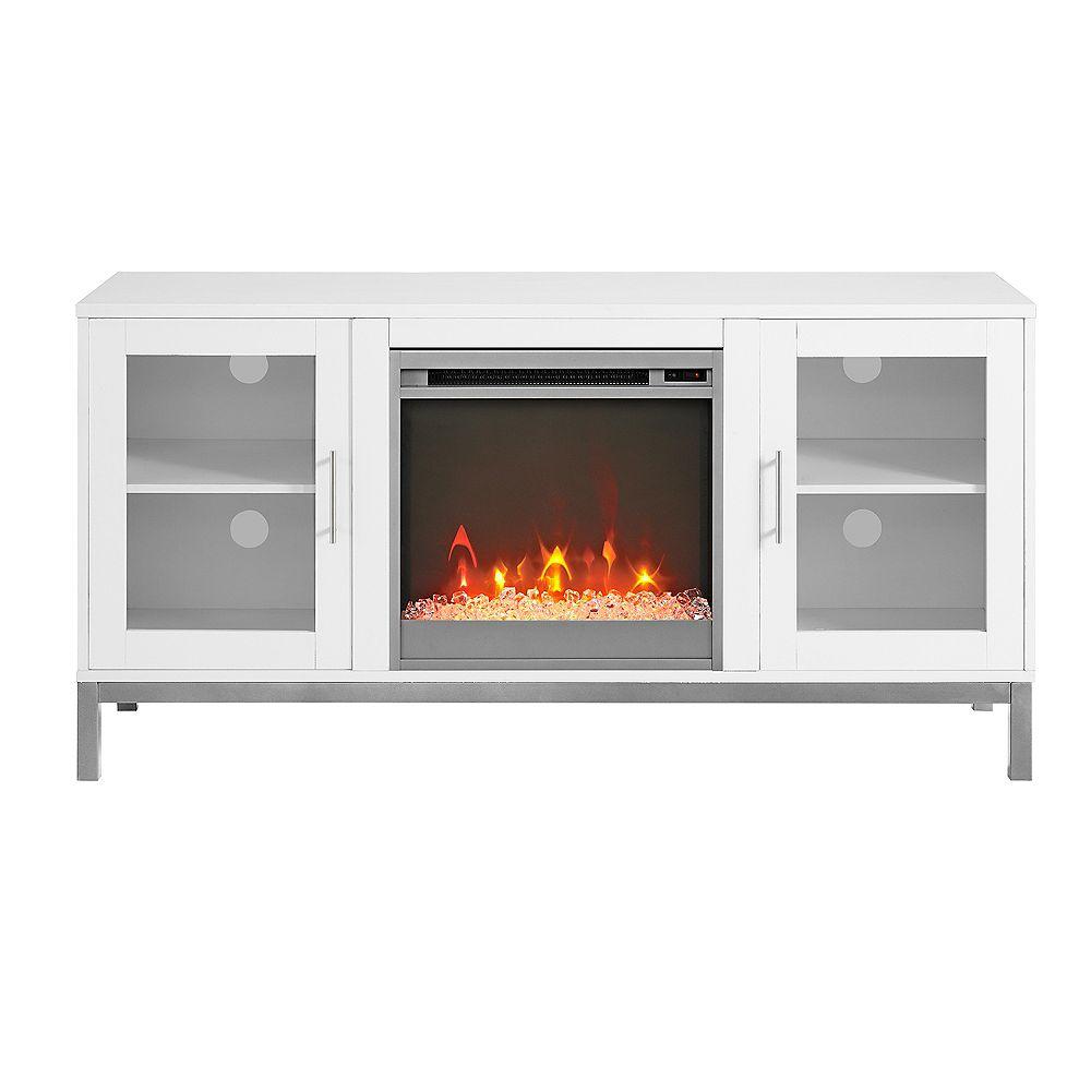 Welwick Designs Console pour téléviseur en bois Avenue avec pieds en métal et cheminée de 132 cm (52 po) - Blanc