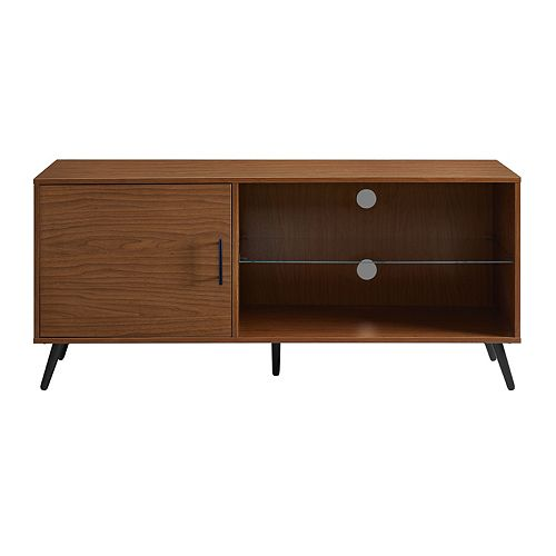 Welwick Designs Mid Century Modern TV Stand for TV's up to 56 inch - Acorn