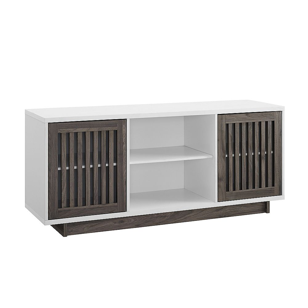 Welwick Designs Mid Century Modern TV Stand for TV's up to 62 inch- Slate Grey