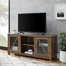Rustic Farmhouse Barn Door  TV Stand for TV's up to 64 inch- Reclaimed Barnwood