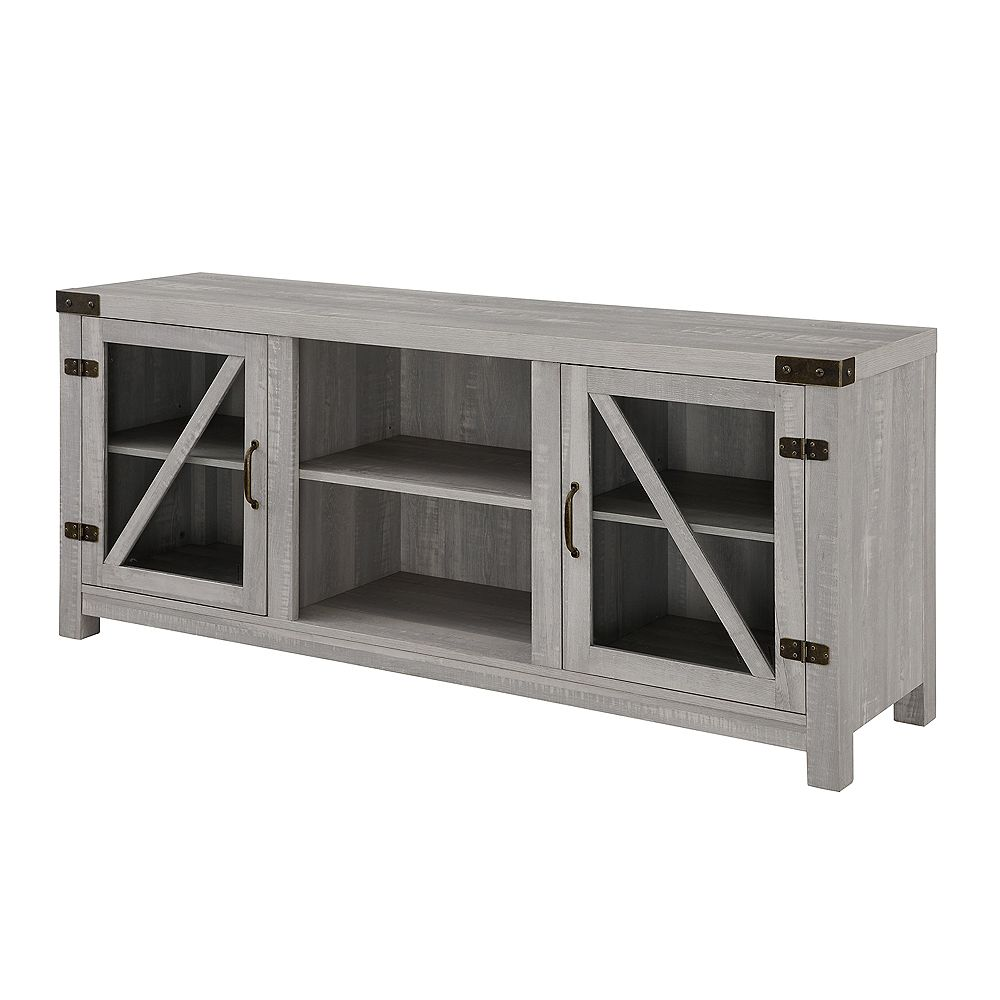 Welwick Designs Rustic Farmhouse TV Stand for TV's up to 64 inch - Stone Grey