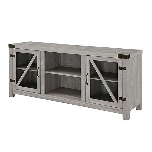 Rustic Farmhouse TV Stand for TV's up to 64 inch - Stone Grey