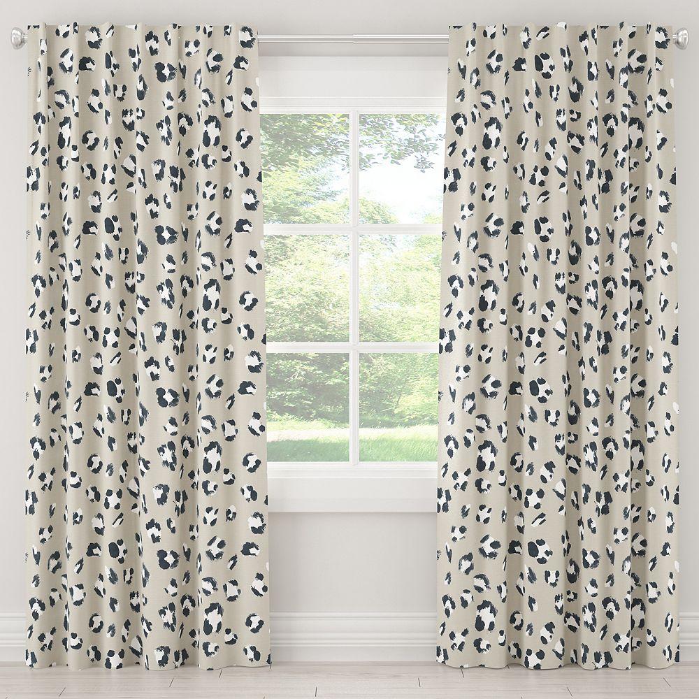 Skyline Furniture MFG Blackout Curtain in Brush Cheetah Ivory