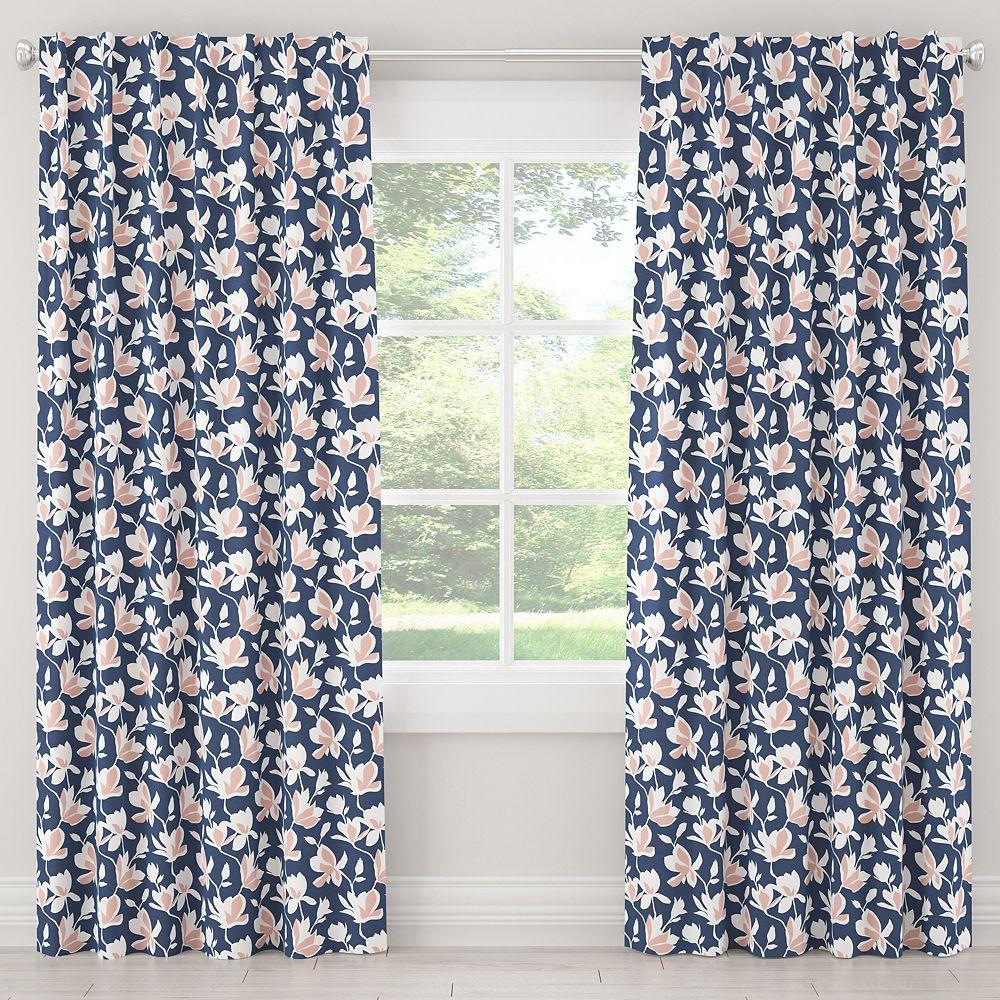 Skyline Furniture MFG Blackout Curtain in Silhouette Floral Navy Blush