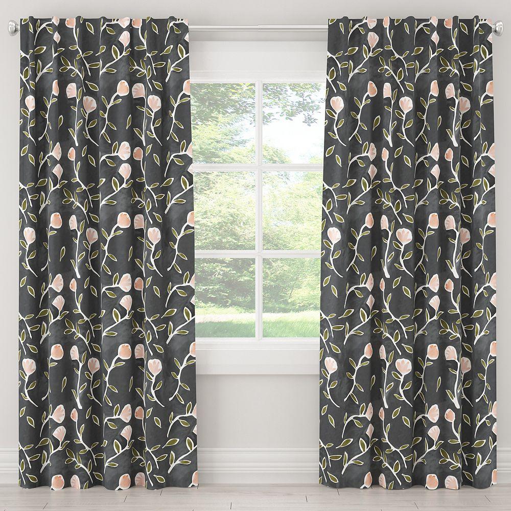 Skyline Furniture MFG Blackout Curtain in Caroline Floral Grey Peach