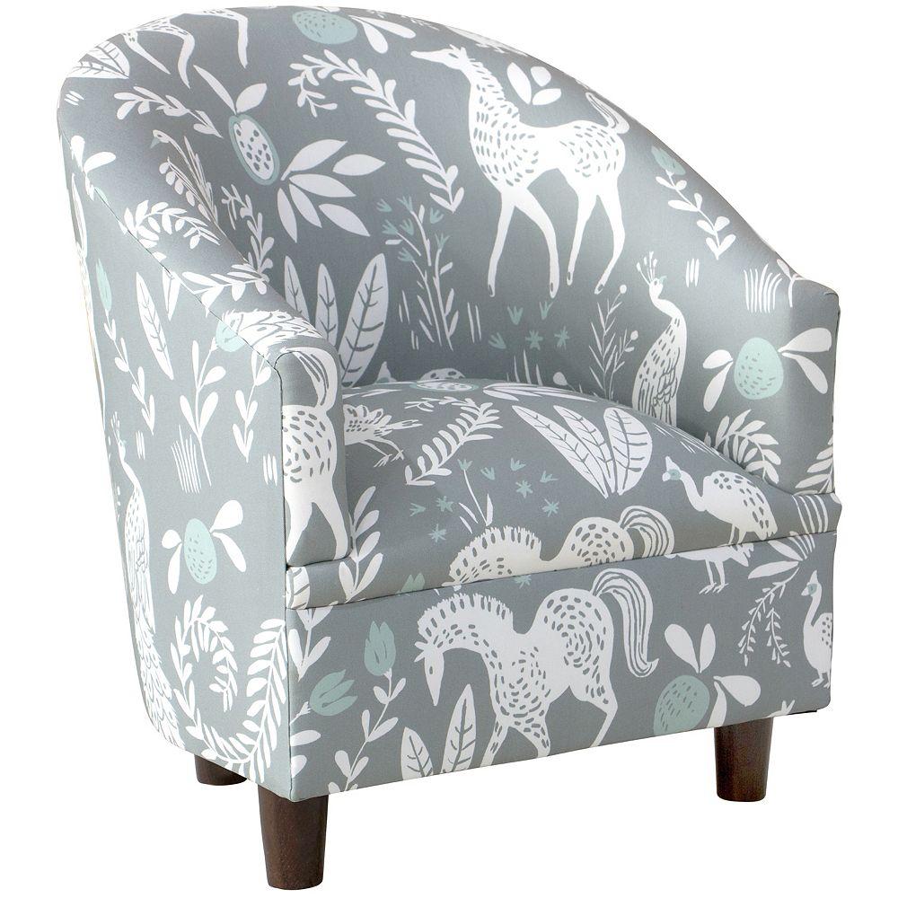 Skyline Furniture MFG Skyline Furniture Kids Chair in Hatfield Fauna Grey Ground Mint
