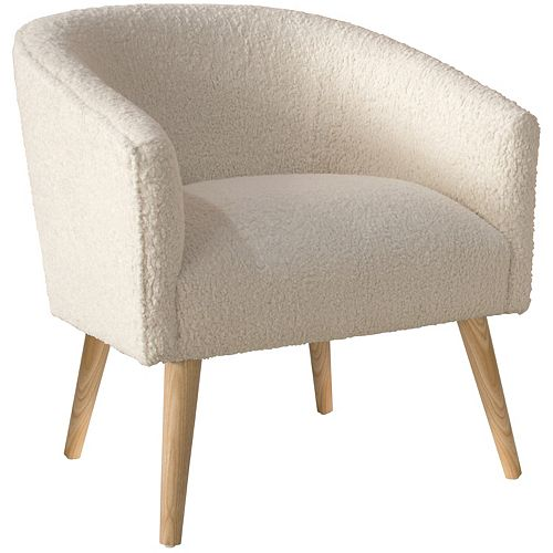 Accent Chair with Low, Rounded Back in Sheepskin Natural