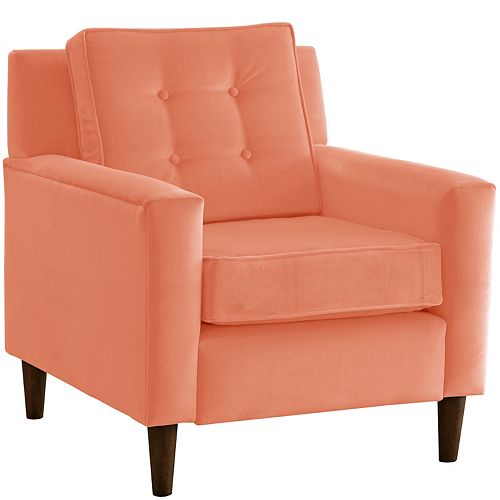 Button Tufted Box-Shaped Arm Chair in Velvet Papaya