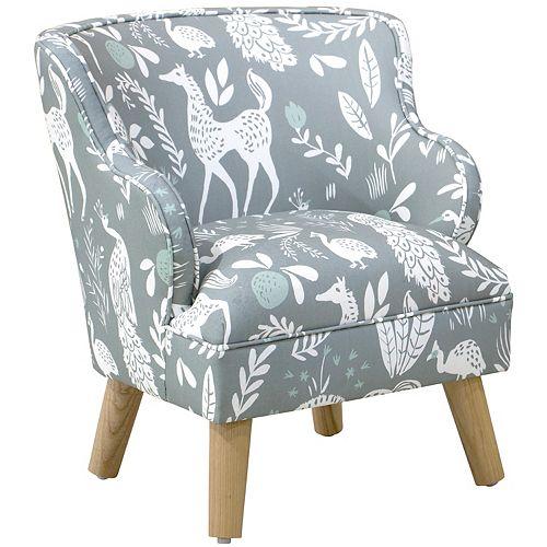 Skyline Furniture Kids Chair in Hatfield Fauna Grey Ground Mint