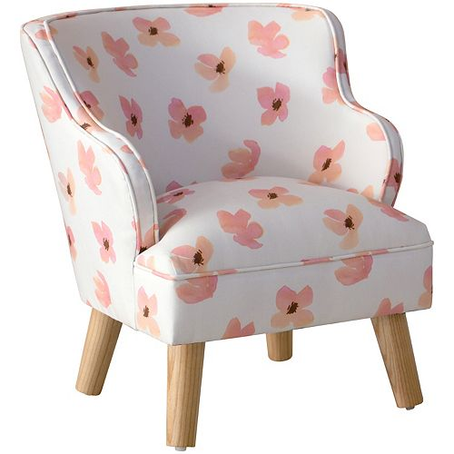 Skyline Furniture Kids Chair in Floating Petals Pink