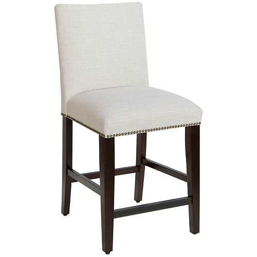 Square Counter Stool with Nail Buttons in Linen Talc