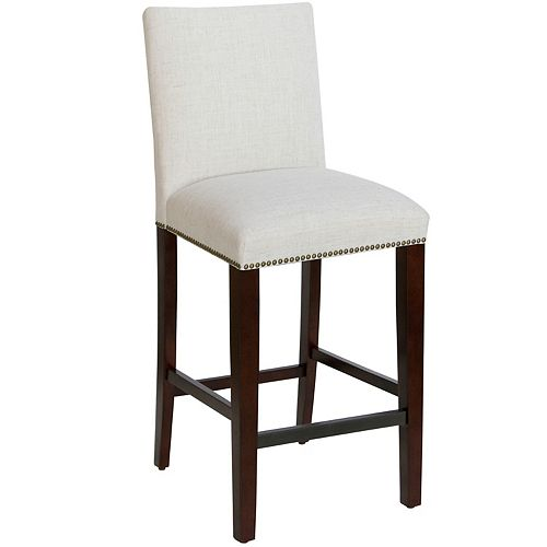 Square Bar Stool with Nail Buttons in Linen Talc