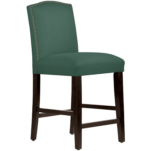 Counter Stool with Camel Back and Nail Buttons in Linen Conifer Green