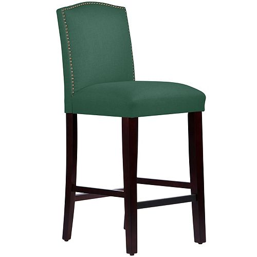 Bar Stool with Camel Back and Nail Buttons in Linen Conifer Green