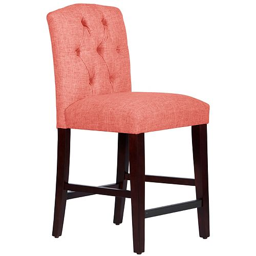 Tufted Counter Stool with Camel Back in Zuma Coral