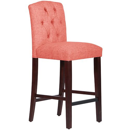 Tufted Bar Stool with Camel Back  in Zuma Coral