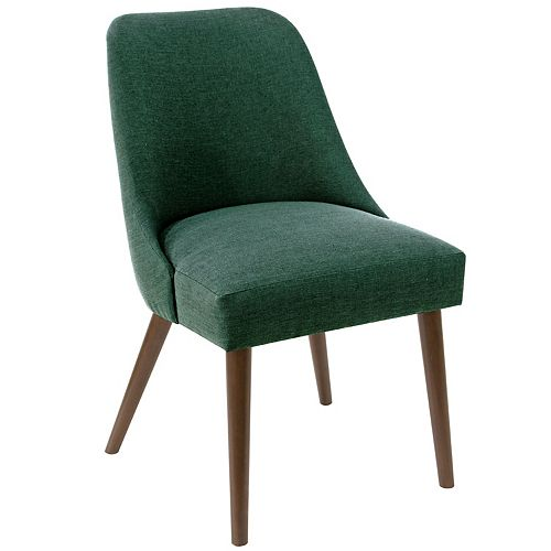 Mid-Century Modern Dining Chair with Rounded Shape in Linen Conifer Green
