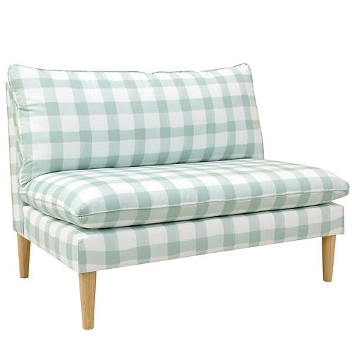 Skyline Furniture MFG Armless Chaise with Pillow Top Design in Buffalo Square Mint Oga