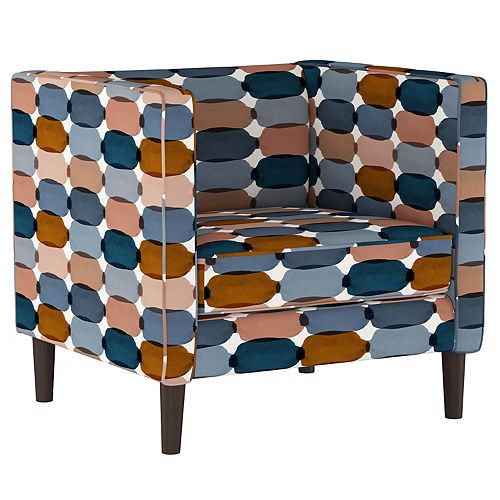 Box Frame Accent Chair with Wooden Legs in Bottleneck Blue Blush Oga