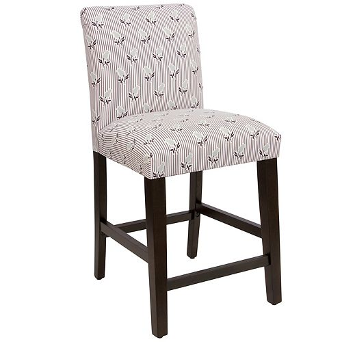 Square Counter Stool with Tapered Legs in Brookline Floral Plum Grey Oga