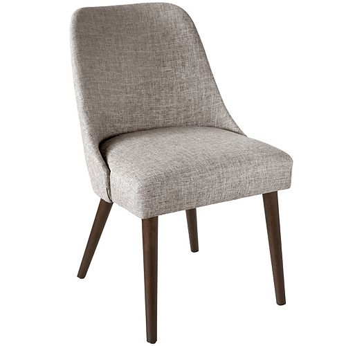 Mid-Century Modern Dining Chair with Rounded Shape in Zuma Feather