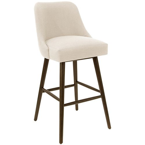 Mid-Century Modern Bar Stool with Rounded Shape in Linen Talc