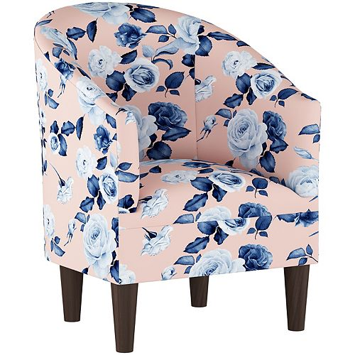 Barrel Chair with Cone Legs in Soft Floral Porcelain Blush Oga