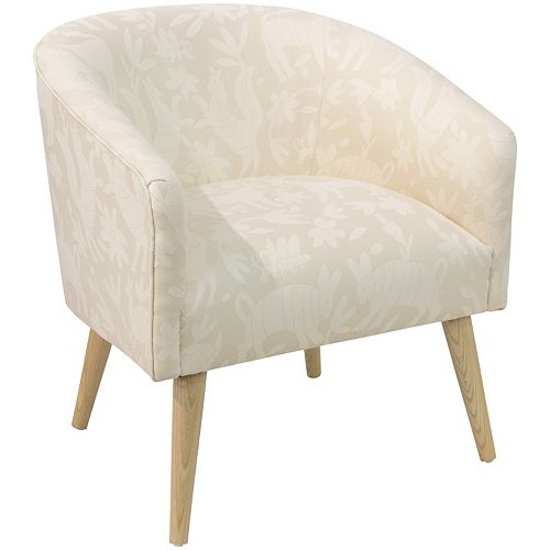 Accent Chair with Low, Rounded Back in Pinata Cotton