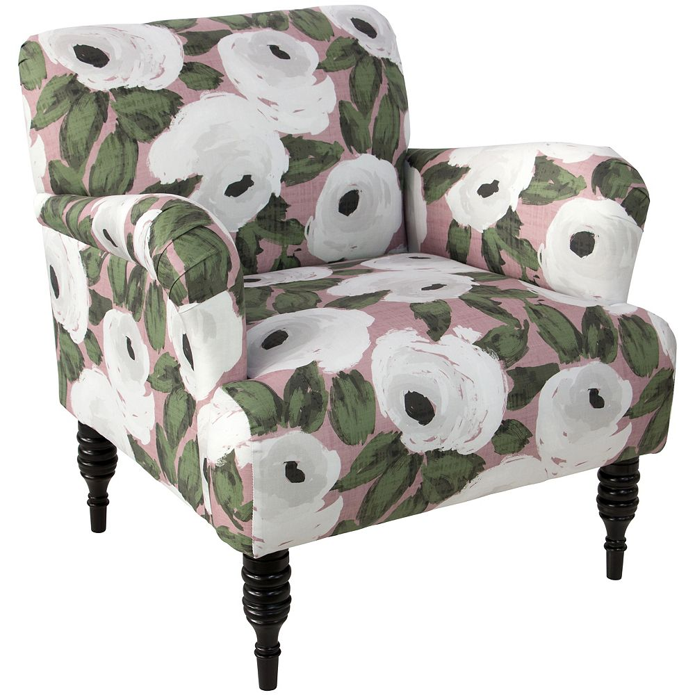 Skyline Furniture Roll Arm Chair with Turned Legs in Bloomsbury Rose Blush Ivy Oga