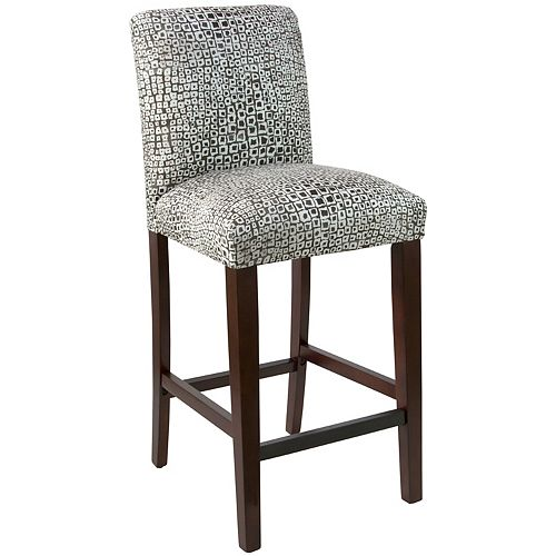 Square Bar Stool with Tapered Legs in Tiles Ink Oga