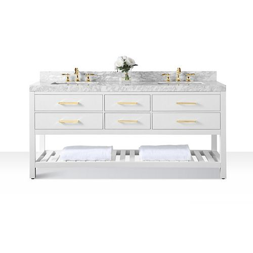 Elizabeth 72 inch W x 22 inch D Vanity Basin in White Carrara White marble Counter-top Gold Hardware