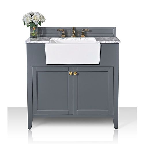 Adeline 36 inch W x 20.1 inch D Vanity Basin in Gray Carrara White Marble Counter-top Gold Hardware