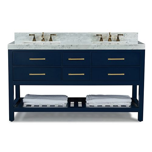 Elizabeth 60 inch W x 22 inch D Vanity Basin in Heritage Blue with Carrara Marble Counter-top