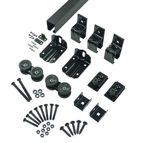 96 in (2430 mm) Sliding Barn Door Single Box Track Hardware Kit, Matte Black